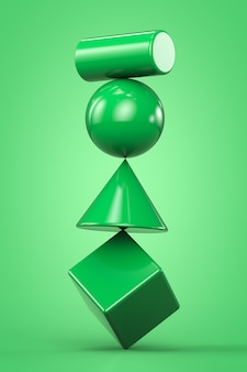 Green geometric shapes unstable construction isolated on green background