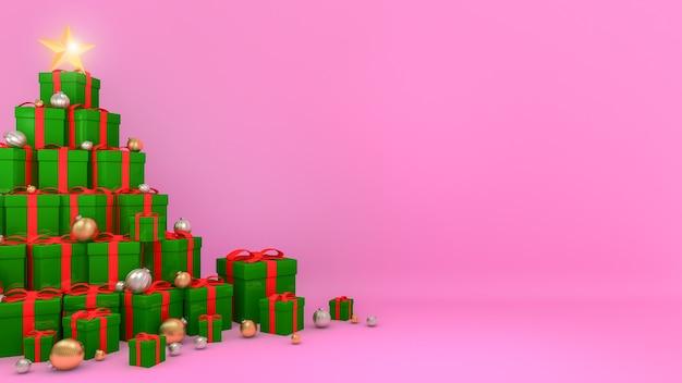 빨간 리본이 달린 녹색 선물 상자가 분홍색 배경의 크리스마스 트리 모양으로 배치되었습니다.