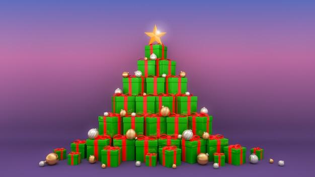 크리스마스 트리 모양으로 배치 된 빨간 리본이 달린 녹색 선물 상자