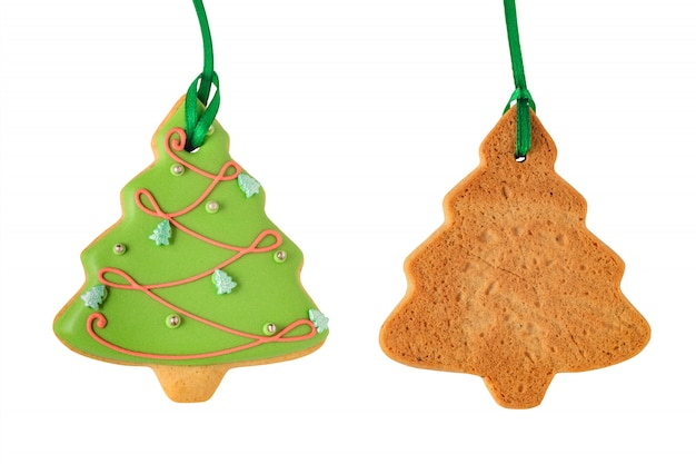 Green gingerbread tree isolated on white