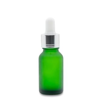 흰색에 녹색 유리 dropper 혈청 병