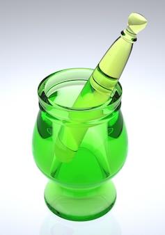 Green glass mortar and pestle.