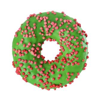 分離された赤いスプリンクルと緑の艶をかけられた丸いドーナツ