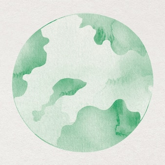 Элемент акварельного дизайна зеленого земного шара
