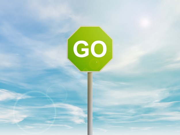 Green go sign in the sky