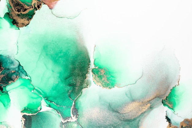 Green gold abstract background of marble liquid ink art painting on paper .