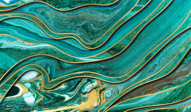 Green and gold agate ripple background. marble  with wave layers.