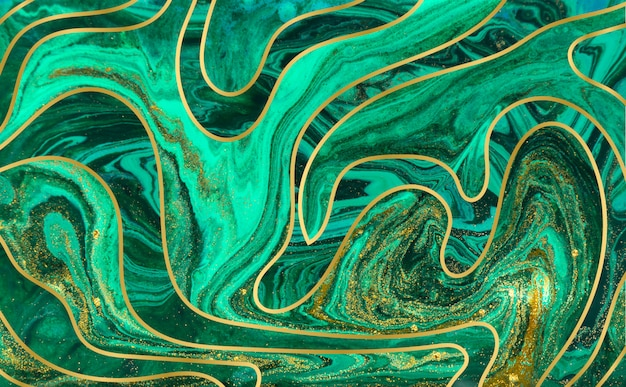 Green and gold ripple background. golden marble texture.