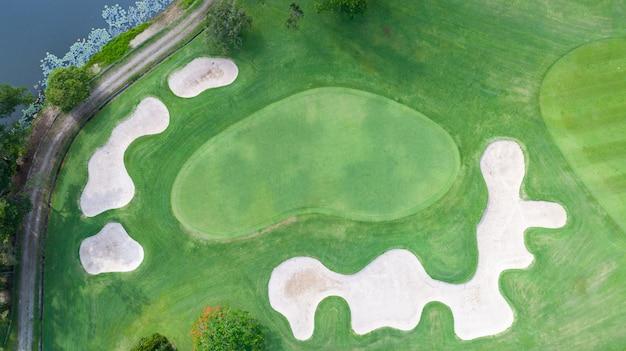 Green golf course outdoor green grass field