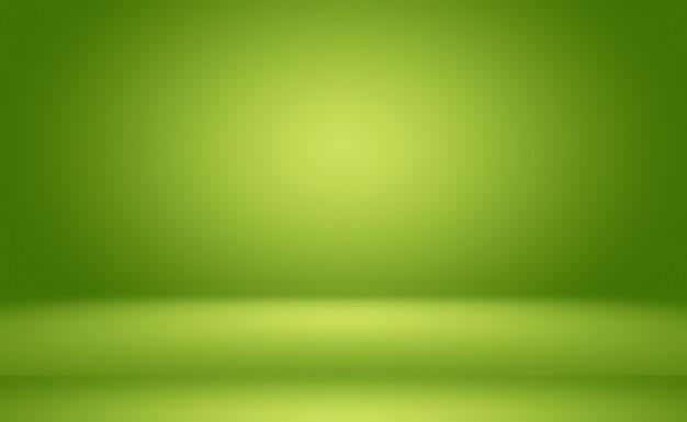 あなたのテキストと画像のためのスペースと緑のグラデーションの抽象的な背景の空の部屋。