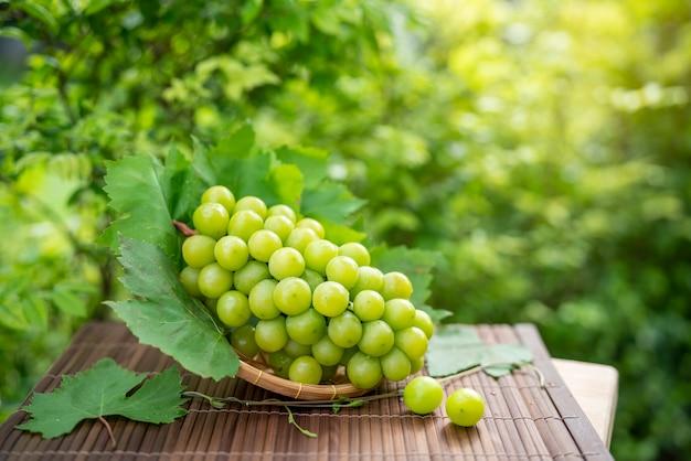 庭の木製のテーブルの竹かごの緑のブドウ
