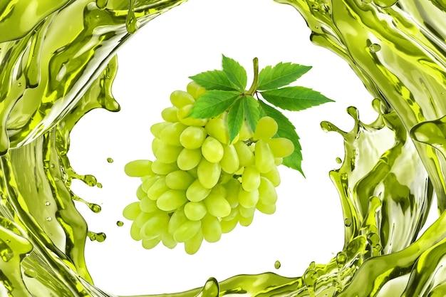 흰색 바탕에 스플래시에 녹색 포도