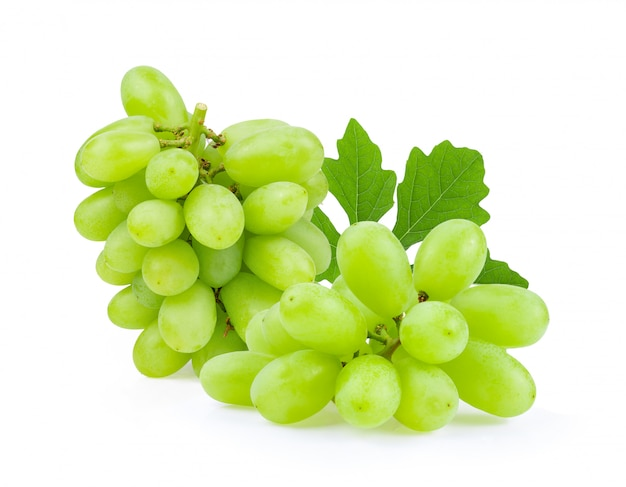 Green grapes on white wall