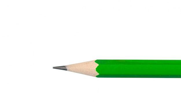 Зеленый графитовый карандаш на белом крупным планом.