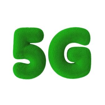 흰색 바탕에 녹색 잔디 5g 네트워크 로그인. 3d 렌더링