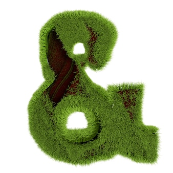 緑の草のアンパサンド、白い背景で隔離。 3dイラスト。