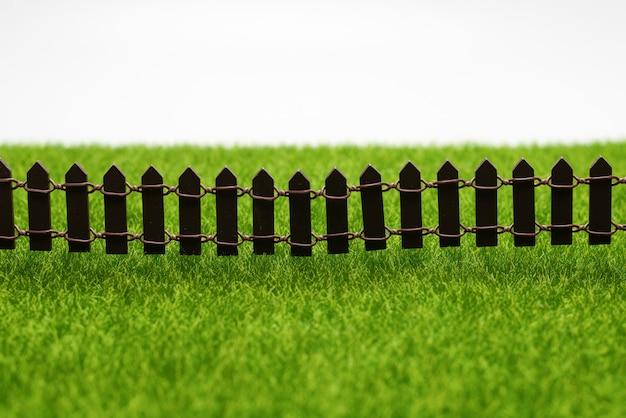 푸른 잔디와 울타리 흰 벽에 고립입니다.