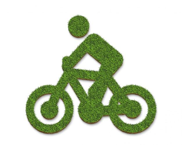 白い背景に分離された緑の草自転車