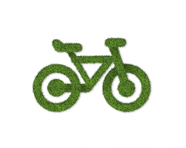 Green grass bycicle isolated on white