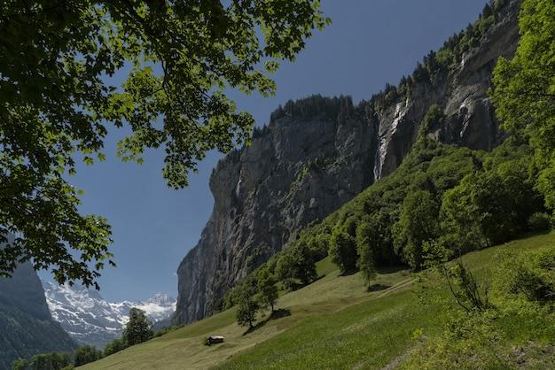 昼間の青い空の下の岩山の近くの緑の芝生のフィールド