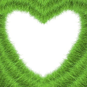 Форма сердца зеленой травы на белом фоне