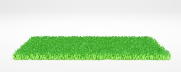 Green grass land piece isolated on white