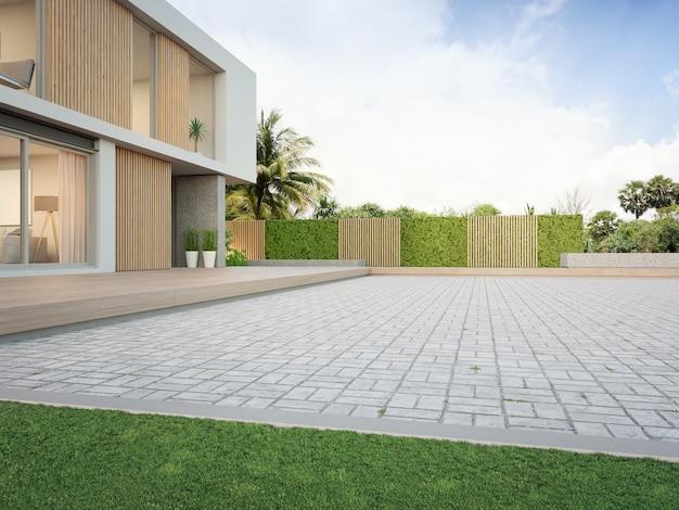 3dレンダリングで現代の家の緑の芝生