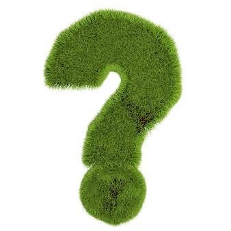 緑の草の疑問符、白い背景で隔離。 3dイラスト。