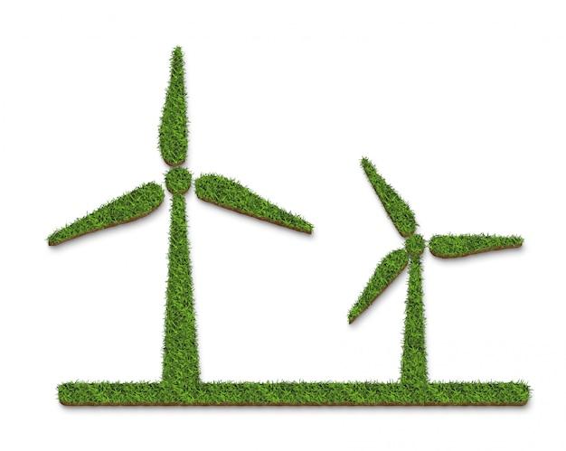 白い背景の上の緑の草風力タービン