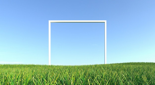 Green grass with frame and blue sky background