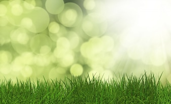 3D визуализации сочной зеленой траве на фоне расфокусированного