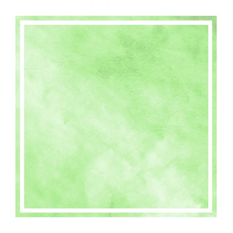 Green hand drawn watercolor rectangular frame background texture with stains