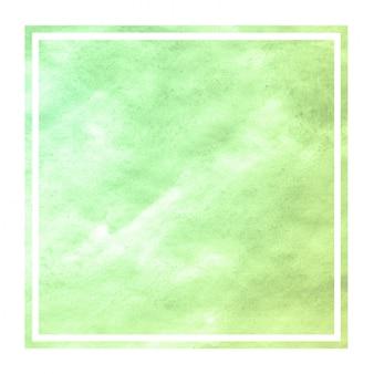 Green hand drawn watercolor rectangular frame