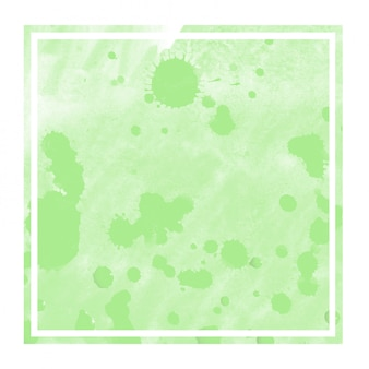 Green hand drawn watercolor square frame background texture with stains