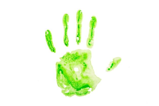흰 종이에 녹색 손자국입니다. 색깔의 녹색 손바닥 모양이 분리됩니다. 고품질 사진