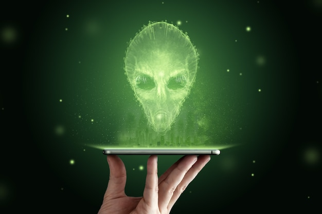 Green-headed alien with black large glass eyes. ufo concept, aliens, contact with extraterrestrial civilization.