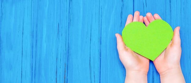 어린이의 손에 녹색 마음