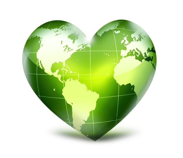 Зеленое сердце с картой мира