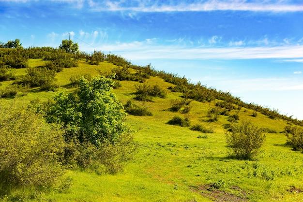 푸른 언덕과 푸른 하늘, 자연 풍경