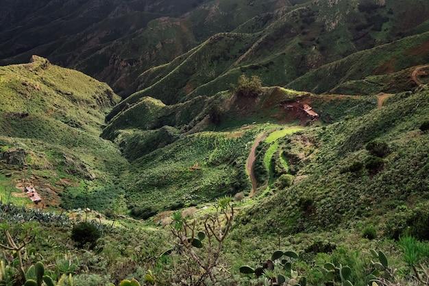 Зеленые холмы и горы дорога и заброшенные здания природа тенерифе в солнечный день канарские острова испания