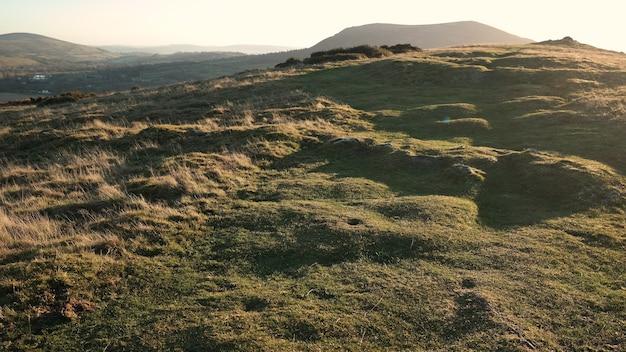 太陽が輝いている草のある緑の丘