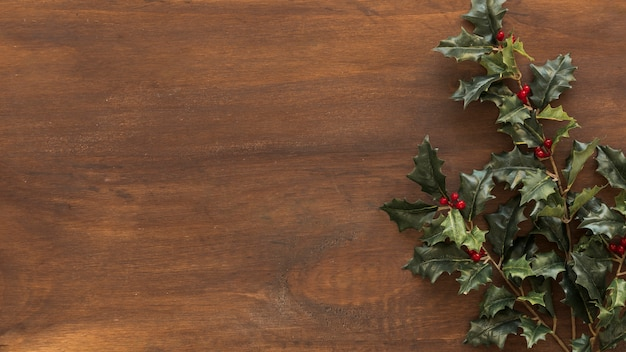 Green holly branches on brown table