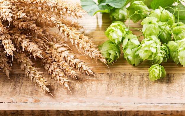 木製のテーブルの上の緑のホップと小麦の穂
