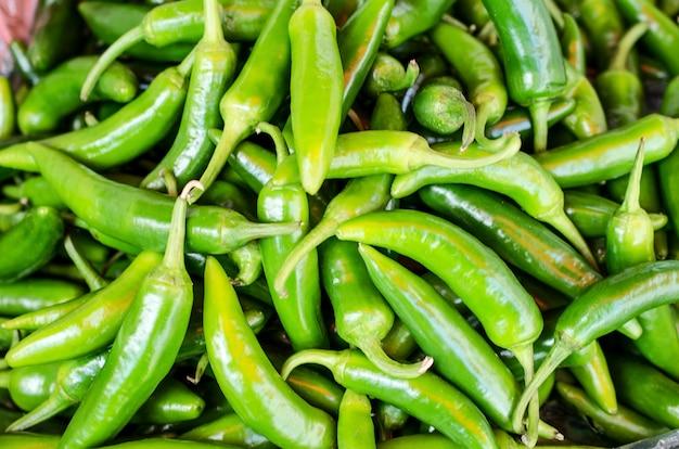 Green hot chili pepper healthy food.