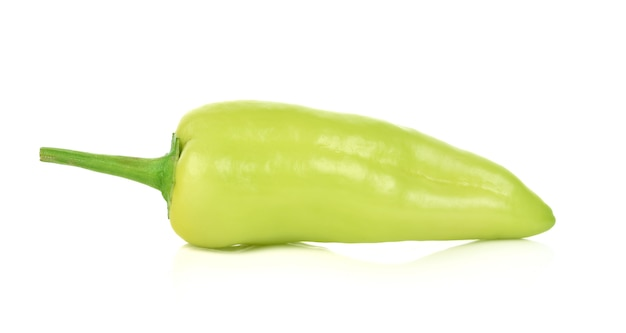 Green hot chili pepper isolated on the white background.