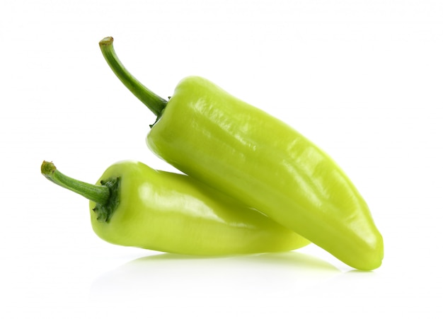 Green hot chili pepper isolated on the white surface