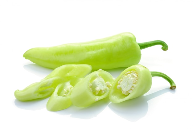 Green hot chili pepper isolated on white