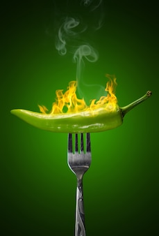 Green hot chili pepper isolated