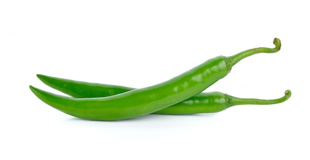 Green hot chili peppers isolated