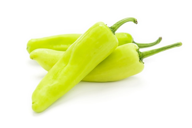 Green hot pepper isolated on white background.